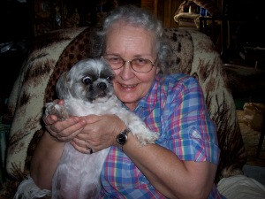 My mom snuggles Beau 2008