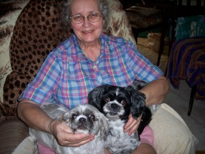 My mom with Beau and Lou-Lou 2008