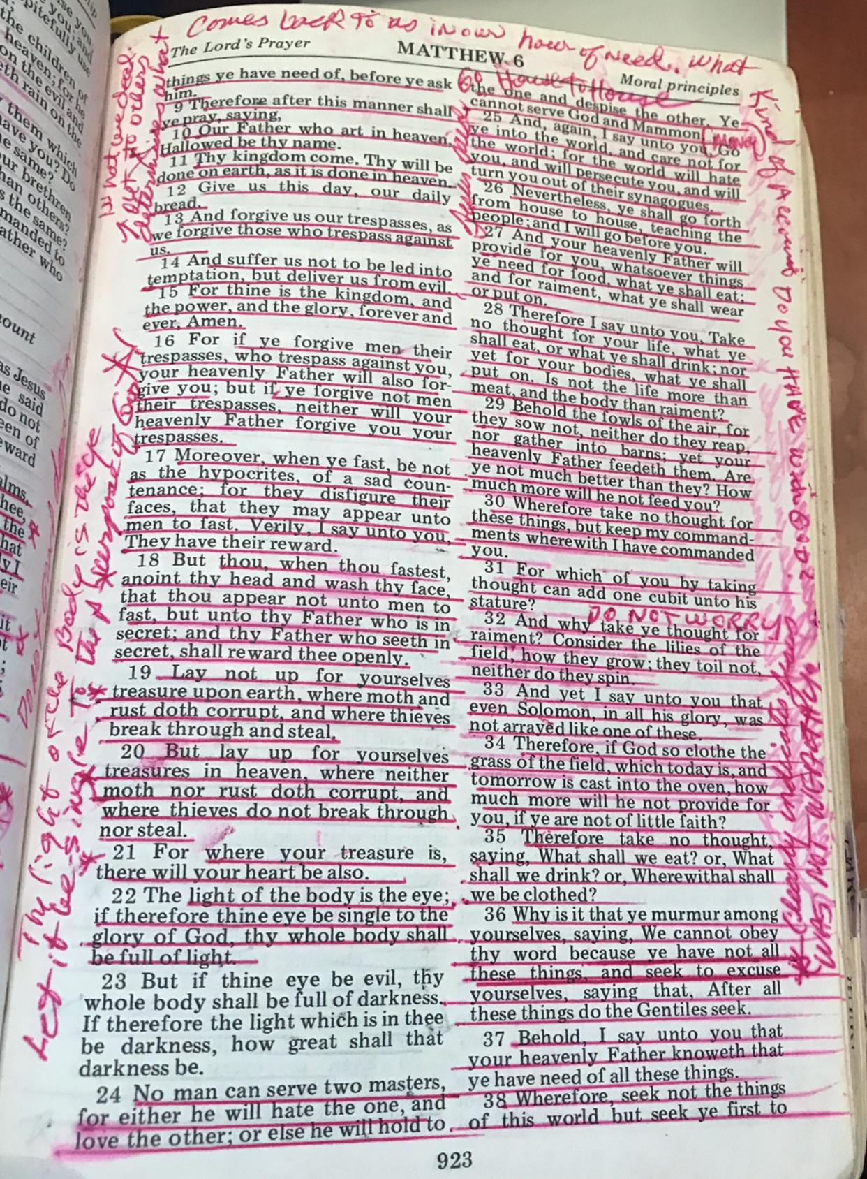 Matthew 6 page