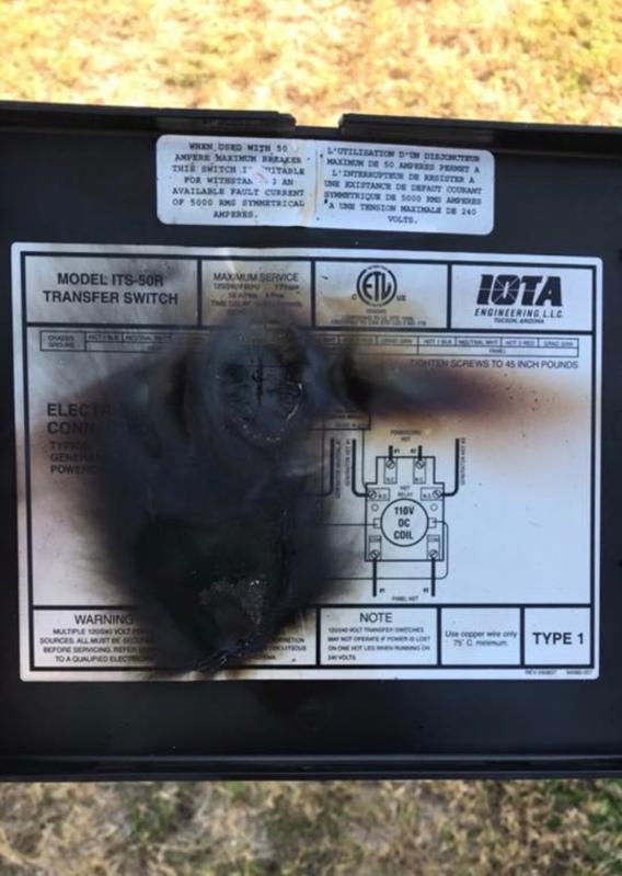 IOTA ITS-50R recalled generator transfer switch