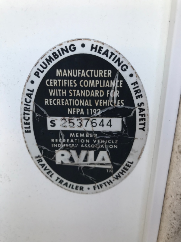 RV quality inspection sticker