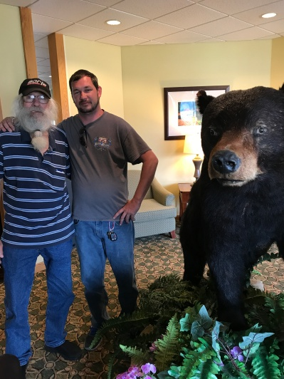 Dad and Matt with the bear at Days Inn June 2017