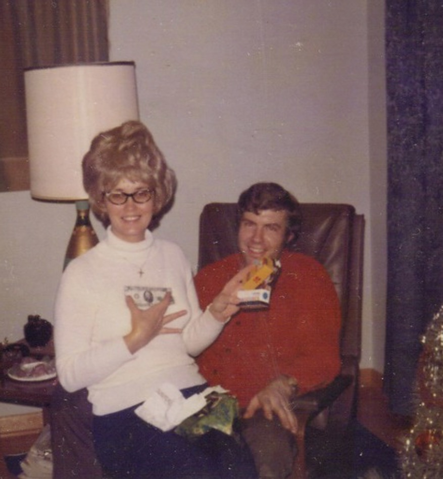 Dad and mom Christmas maybe 1970