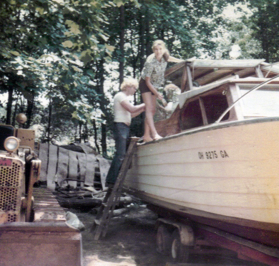 Dad and Sheila working on old boat 1976