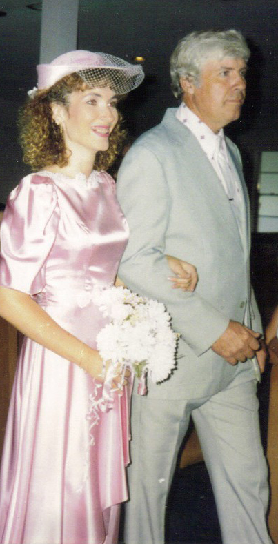 Dad walking me down the aisle at my second wedding 1991