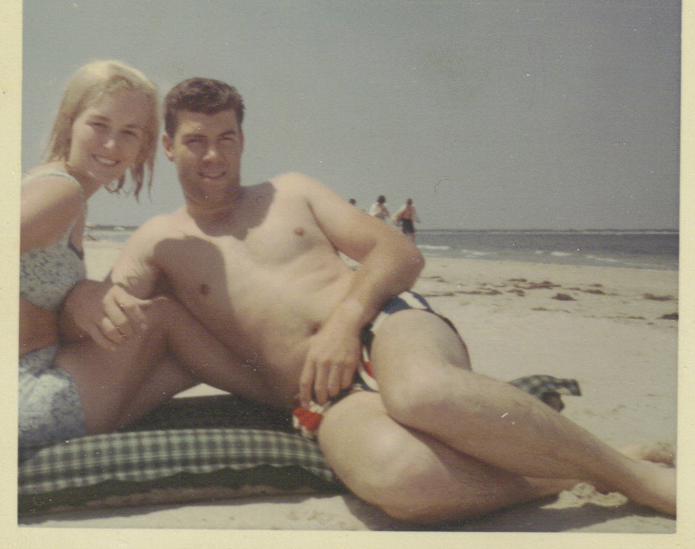 Mom and dad at the beach about 1970