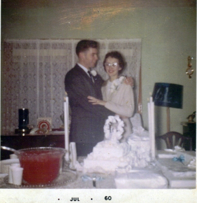 BettyAnn and Nelson Wedding Day 1960 in her parent